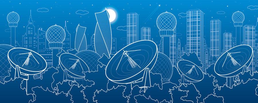 Satellite dishes in the woods, antenna  communication technology, weather station, radar installations, night city, urban scene, vector design art