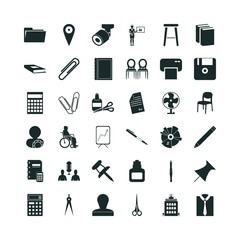 office icon set. scissors icon and pin business icon vector icons.