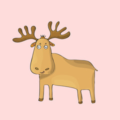 Elk cute on pink background. Isolated cartoon vector character