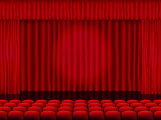 Beautiful red cinema hall with seats facing red folded curtain drapes on a black stage vector.