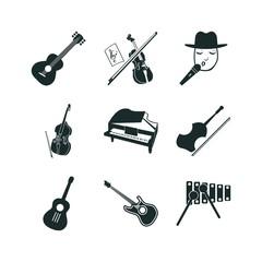 9 guitar icon set
