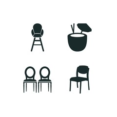 4 chair icon set