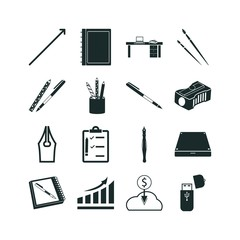 pen icon set. external hard drive icon and usb storage icon vector icons.