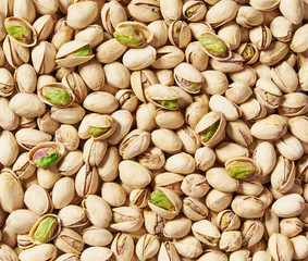 Pistachios background   close-up.Top view