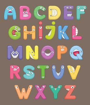 Funny colorful cartoon alphabet. Alphabetical letters ABC for children.