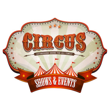 Carnival Circus Banner With Big Top/ Illustration of a retro and vintage circus red poster badge, with marquee, big top, sunbeams and banner