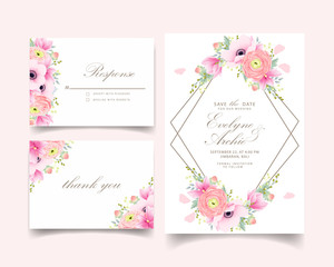 floral wedding invitation with ranunculus, magnolia and anemone flowers