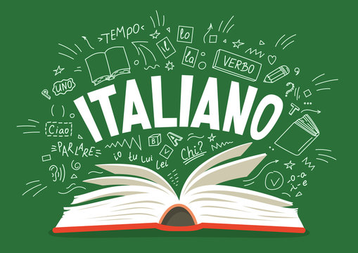 Italiano. Open book with language hand drawn doodles.