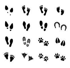Footprint vector icon set. Footprints of human and animals.