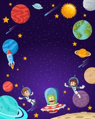 Astronaut cartoon children flying in the space. Alien Spaceship.