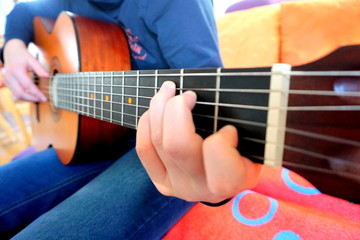 Practicing in playing guitar