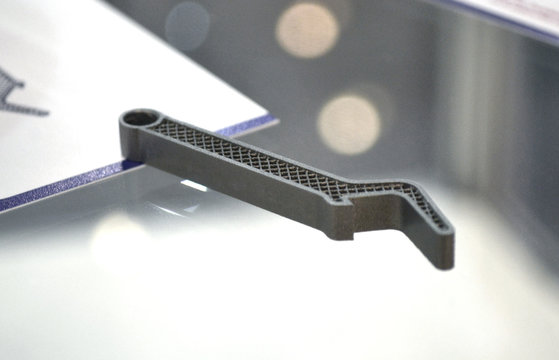 Selective Laser Melting. Object printed on metal 3d printer close-up.