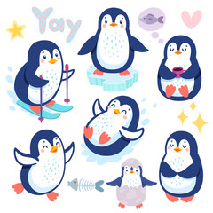 Wall Mural - Cute penguins skiing, having fun, drinking tea. Funny characters.