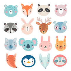 Fototapete - Cute Woodland characters, bear, fox, raccoon, rabbit, squirrel, deer, owl and others.