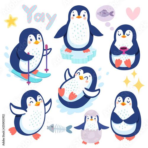 Wall mural Cute penguins skiing, having fun, drinking tea. Funny characters.