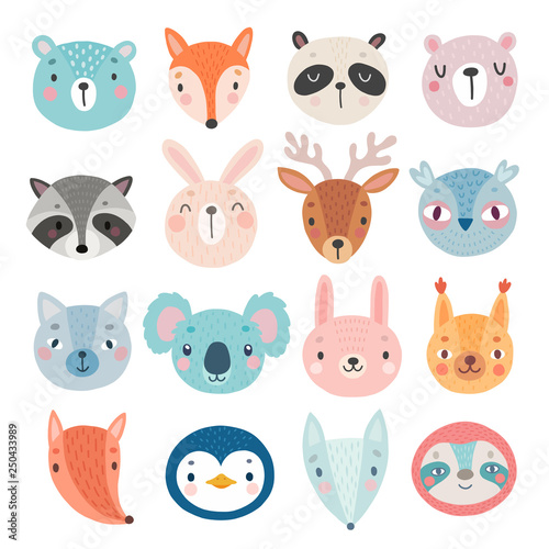 Wall mural Cute Woodland characters, bear, fox, raccoon, rabbit, squirrel, deer, owl and others.