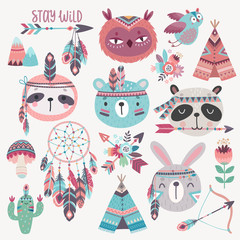 Cute Woodland boho tribal characters, rabbit, owl, sloth, panda,bear.