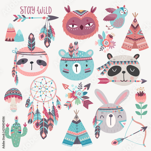Wall mural Cute Woodland boho tribal characters, rabbit, owl, sloth, panda,bear.