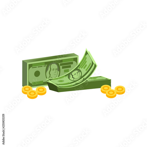 Counting money vector  Money packs and coins, earning, payment