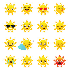 Vector sun emojis on a white background