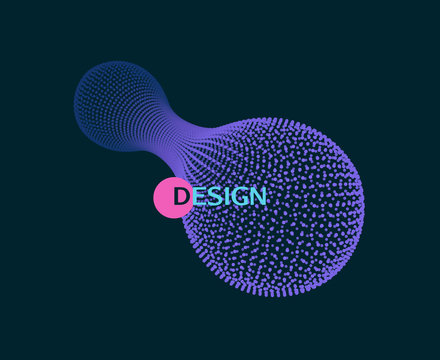 Array with dynamic particles. 3D molecular object for medicine, science, technology, chemistry and biology. Vector illustration.
