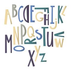Hand drawn graphic font. Cartoon alphabet.