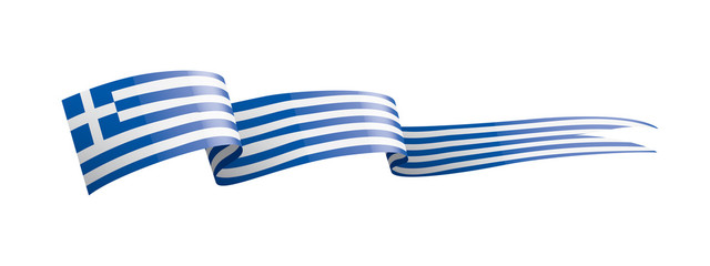 Greece flag, vector illustration on a white background. Fototapete