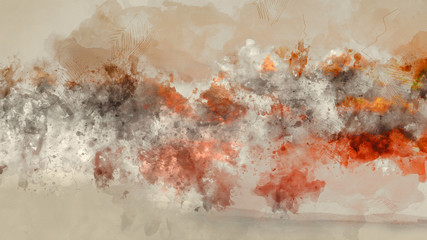 Abstract Digital Artistic High Resolution Watercolor Painting with Vivid Orange, Yellow and Red Colors on Realistic Paper Texture