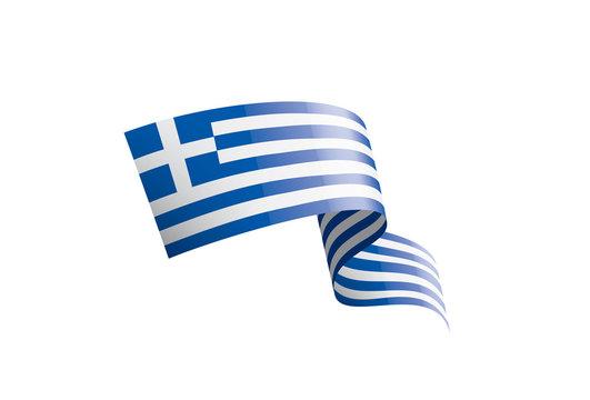 Greece flag, vector illustration on a white background.