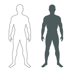 Male human body silhouette and contour. Isolated mens symbols  on white background. Vector illustration