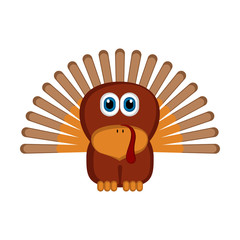 Isolated cute turkey. Farm animal. Vector illustration design