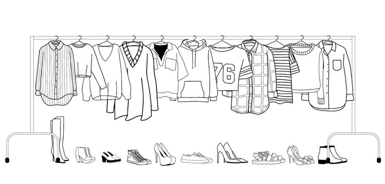 Vector illustration of clothes on a hanger with shoes
