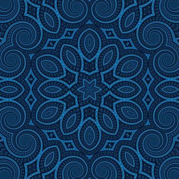 blue dark pattern kaleidoscope abstract. circle.