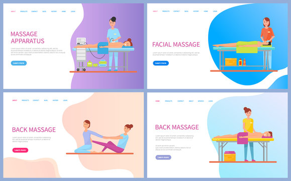 Woman making back and facial massage for client lying on table with towel, procedure by apparatus for girl. Healthcare therapy and spa, web page vector. Website template landing page in flat