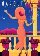 Woman on vacation on Neapolitan coast. Vintage poster