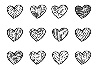 Hand drawn hearts on white background.
