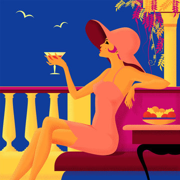 Girl with a glass on vacation. Summer poster