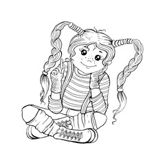 Vector graphic baby characters, cartoon character, cute girl