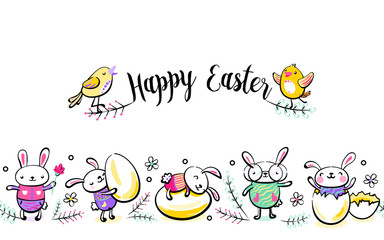 Happy Easter seamless vector border with greeting handwritten text, cute singing chick. Decorative horizontal stripe from bunny, rabbits, eggs, leaves, dots. Illustration in hand drawing sketch style