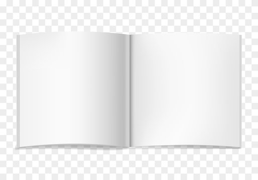 White vector realistic square opened book or journal mock up. Blank open pages of sketchbook or notebook template for catalog, brochure design