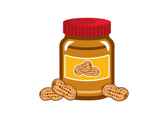 Jar of peanut butter vector. Jar of peanut butter isolated on a white background. Breakfast still life. American delicacy