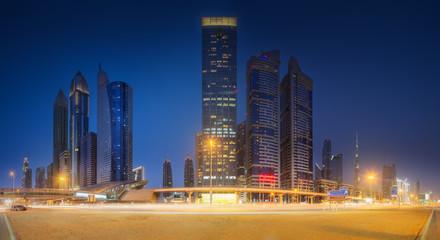 Metro station in Financial district Dubai, UAE