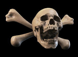 Human skull on Rich Colors a White Isolated Background. The concept of death, horror. A symbol of spooky Halloween. 3d rendering illustration.
