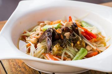 thai style spicy papaya salad, favourite dish of thai local food.