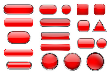 Red glass buttons. Collection of 3d icons with and without chrome frame