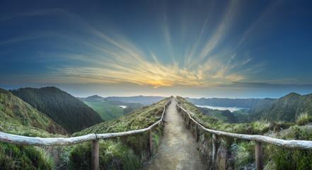 Mountain landscape Ponta Delgada island, Azores Portugal