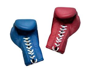 Fototapeta two boxing gloves on a white background close up obraz