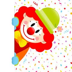 Clown Rote Haare Luftschlangen & Konfetti Banner Vertikal