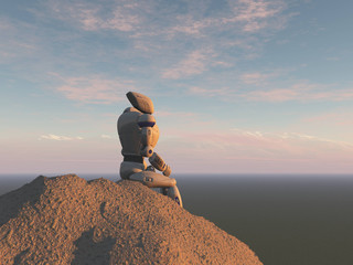 Robot sitting on a rock