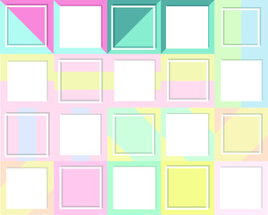 Set of 20 Empty picture frames mock up. Minimalism template flat lay out. Colorful paper background. Empty place for text, design your idea, quotes and sayings